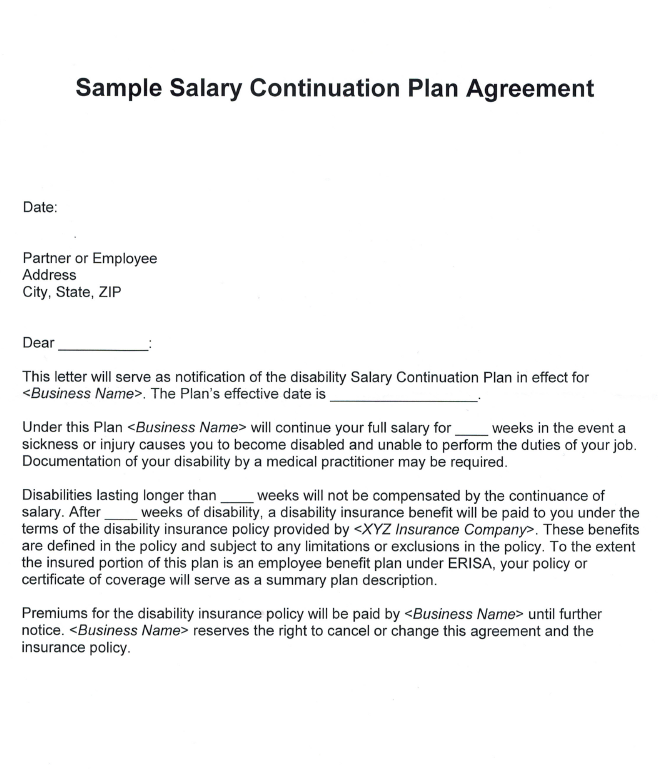 salary contiunation agreement | McCarthy Stevenot Agency, Inc