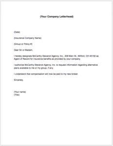to find out whether we can help with service on your current plan print and complete the agent of record letter below on your company letterhead and return